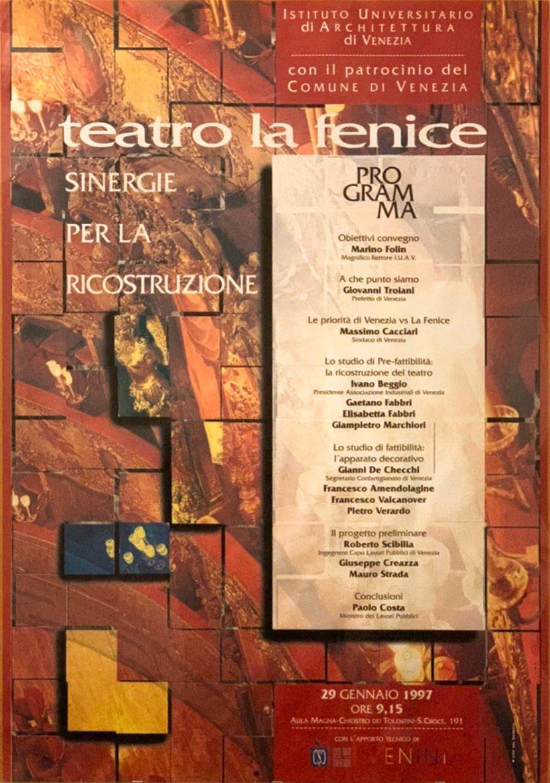 Manifesto convegno ricostruzione del teatro la Fenice di Venezia